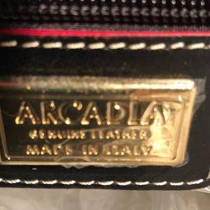 Arcadia Bags - NWOT ARCDIA ITALIAN FAUX SNAKESKIN/BLK LEATHER BAG